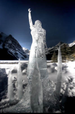 ice sculpture lake louise alberta canada winter