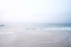 Photo of morning beach, overexposed soft waves, playa del carmen mexico quintana roo